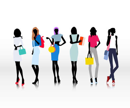 Group of female models dresses in fashion clothes