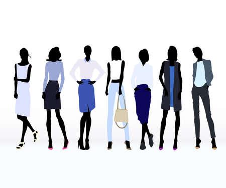 mujeres elegantes: Grupo de color siluetas de las mujeres vestidos de alta costura Vectores
