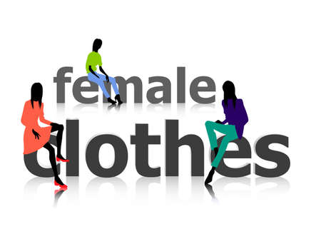 glamour model: Logo of female cfashion with women in colored clothes Illustration