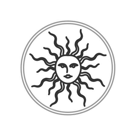 symbols: Illustration of sun face symbol