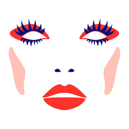 Abstract illustration of fashion female face with makeup Illustration