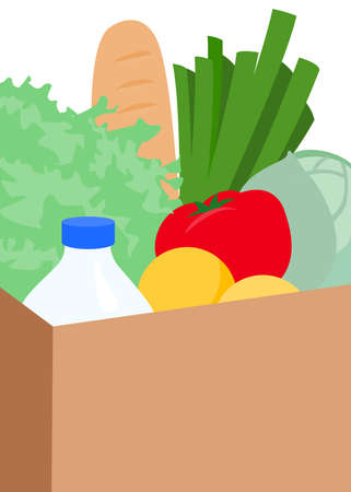 potherb: Vector illustration of package with products, vegetables and fruits