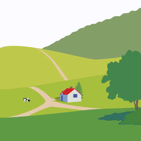 countryside: Vector illustration with forest, fields, cabin and cow