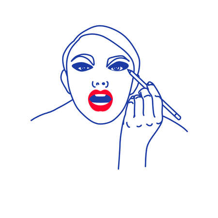 Illustration of abstract female face with makeup Illustration