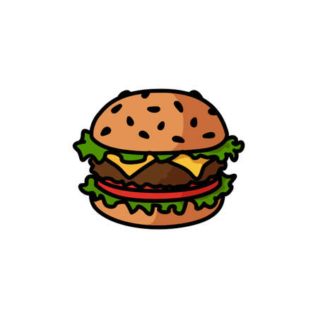 Vector icon illustration of hamburger with tomato and chease Illustration