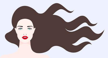 Illustration de femme aux longs cheveux brun foncé. Vecteurs