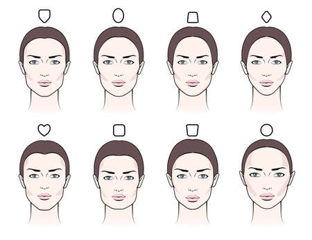 Different types of proportions of female faces with blush, contouring makeup  イラスト・ベクター素材