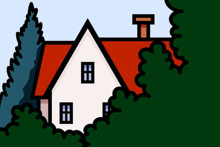 Vector illustration of house in the foliage on the trees background