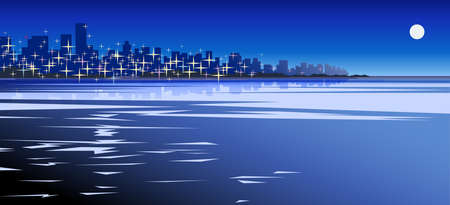 Vector illustration of sea or ocean on the cityscape background