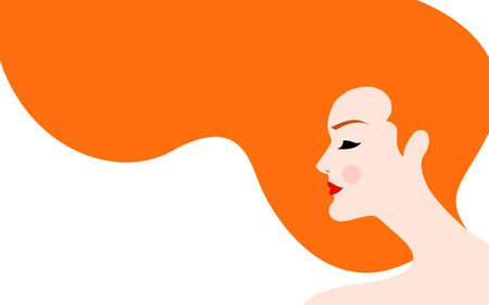 Vector illustration of beautiful woman with red hair Illustration