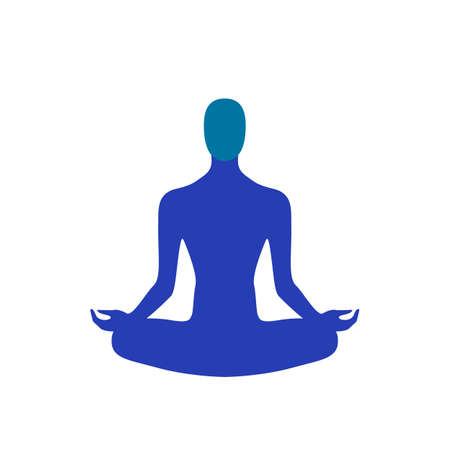 Vector illustration of abstract yoga man sitting in lotus pose