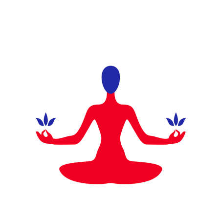 Vector illustration of abstract yoga woman sitting in lotus pose