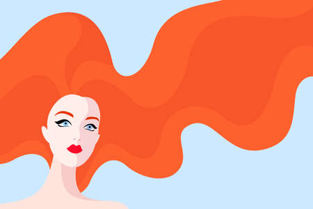 A Vector illustration of beautiful woman with red hair on blue background Illustration