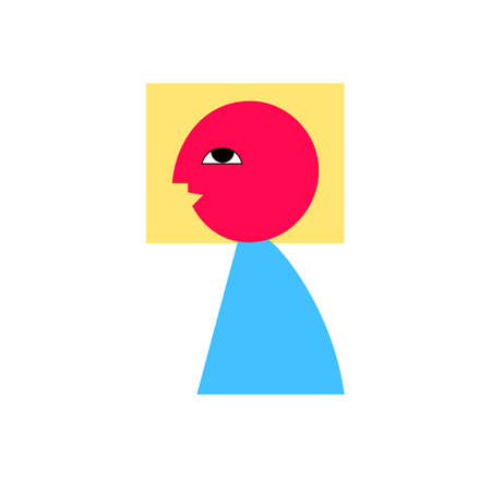 Illustration of abstract man with happy face