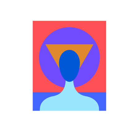 Illustration of abstract man with geometric face