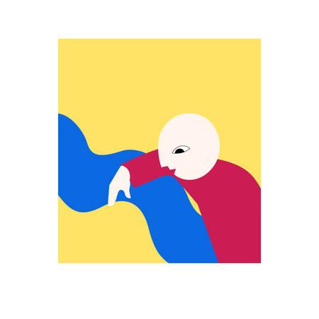 Illustration de l'homme abstrait symbolisant la curiosité Vecteurs