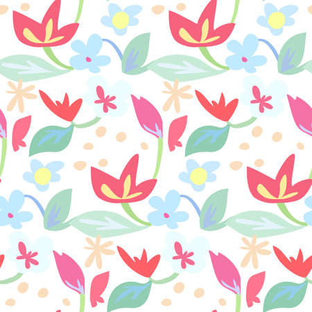 Seamless pattern of red and blue flowers