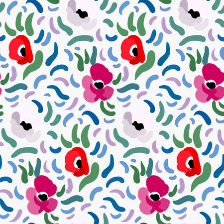 Seamless pattern of red, pink and pale beige anemone flowers in post-impressionism style