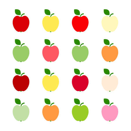 Illustration of red, green and yellow apples