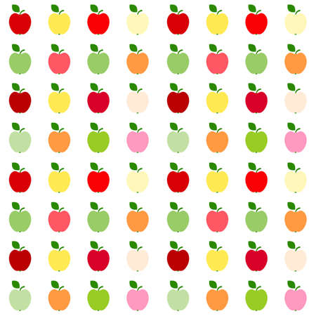 Illustration of seamless pattern of red, green and yellow apples