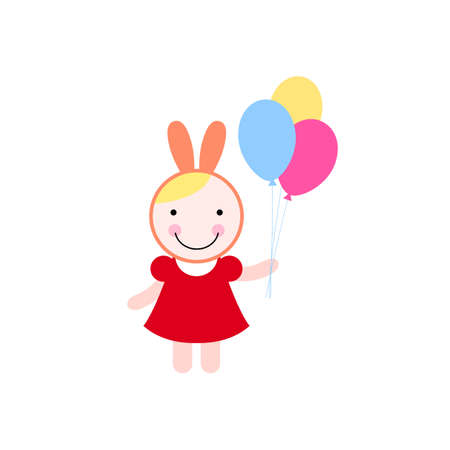 Illustration of a girl in costume of bunny with colorful balloons  イラスト・ベクター素材