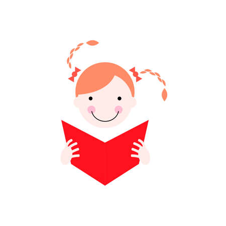 Illustration of redhead girl with red book