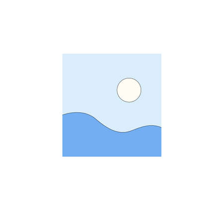 Illustration of blue fields and white sun in light blue sky in minimalist style