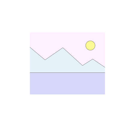 Illustration of light blue mountain and pink sky in minimalist style