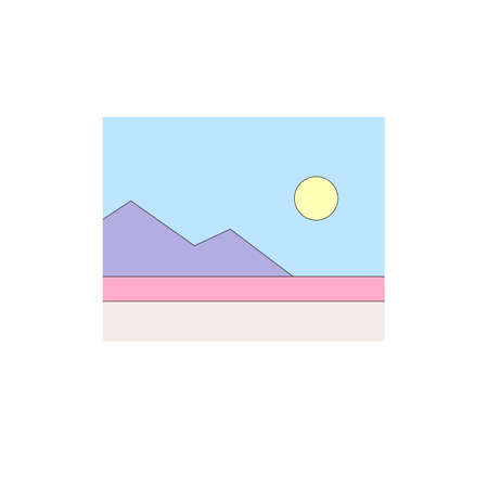 Illustration of purple mountain and pink fields with sun in blue sky in minimalist style  イラスト・ベクター素材