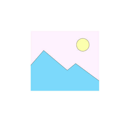 Illustration of blue mountain and pink sky in minimalist style