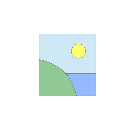 Illustration of green cliff, sun and ocean