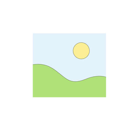 Illustration of green field and sun in blue sky in minimalist style