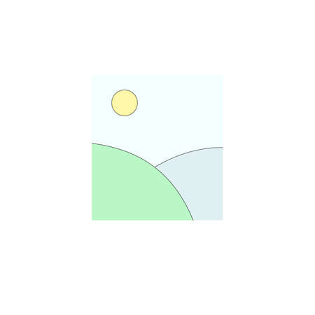 Illustration of blue and green fields and sun in the sky  イラスト・ベクター素材