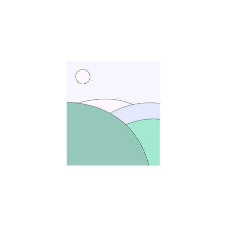 Illustration of colorful fields and sun in light blue sky  イラスト・ベクター素材