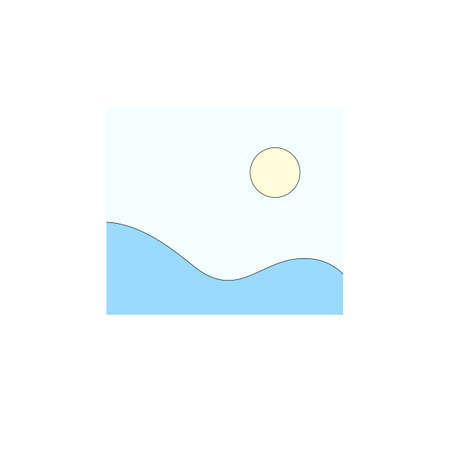 Illustration of blue fields and sun in light blue sky in minimalist style