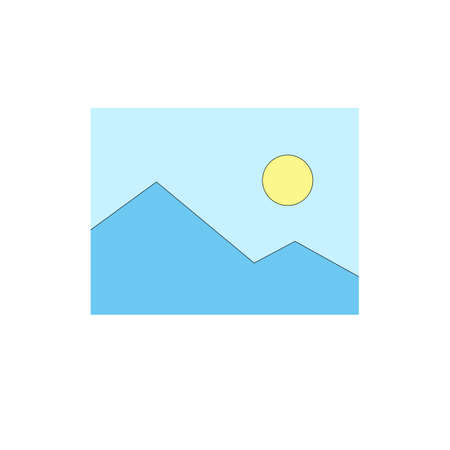 Illustration of blue mountain and green sky in minimalist style