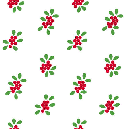 Illustration of cowberry with leaves seamless pattern