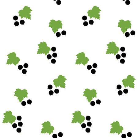 Illustration of black currant and leaf seamless pattern