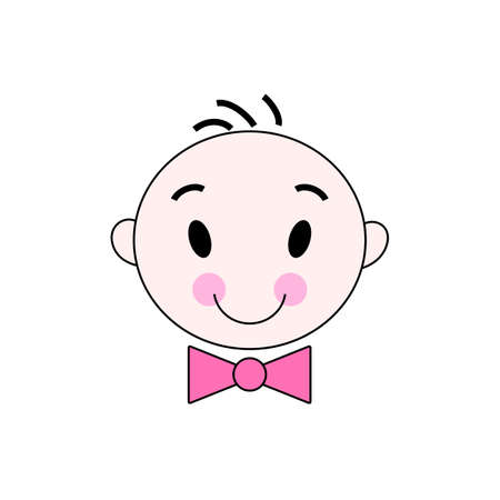 Vector illustration of a little man in pink bow tie Banque d'images - 126017169