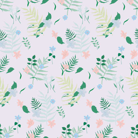 Illustration of seamless pattern of fern and flowers