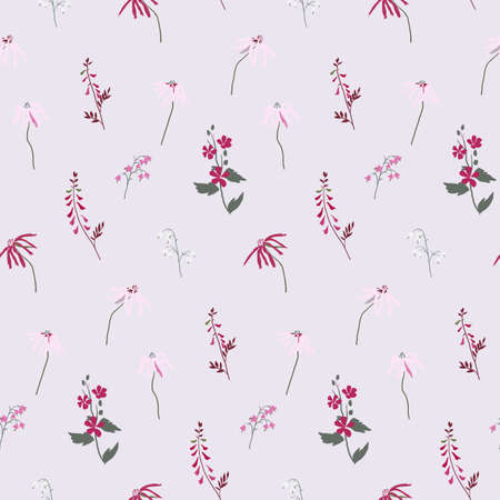 Illustration of seamless pattern of wildflowers