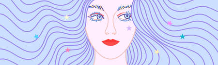 Vector illustration of beautiful woman with cool wavy violet hair Ilustracja