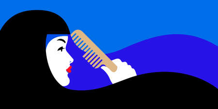 Illustration of beautiful woman with black hair with hairbrush on blue background