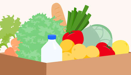 Vector illustration of package with products, vegetables and fruits