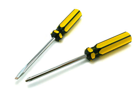 recessed: Two screwdrivers on a white background Stock Photo