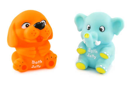 Colored toys with bath jelly inside isolated on a white background Stock Photo