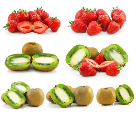 pith: Collection of Ripe Sliced Kiwi and Strawberries Isolated on White Background