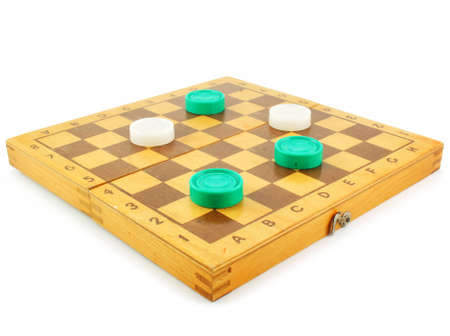Chess board and checkers isolated on a white background photo