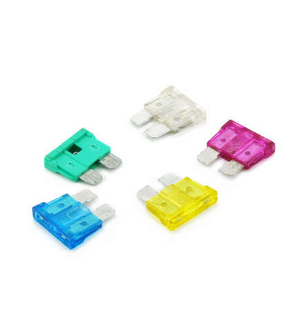 fusible: Colored safety fuses isolated on a white background
