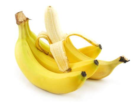 Bunch of Ripe Peeled Banana Isolated on White Background photo